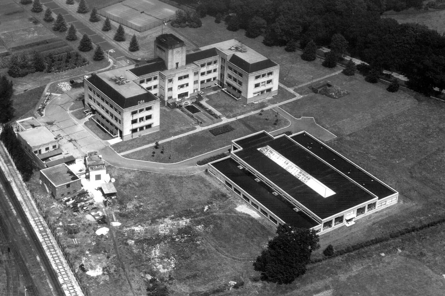 Aerial image of the site looking north taken in 1954